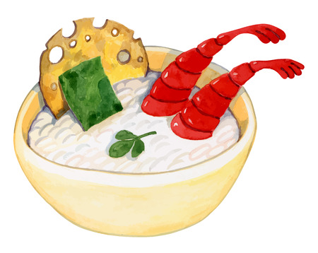 fried shrimp: bright plate with white plus rice seaweed shrimp and cakes - healthy food - watercolor vector drawing