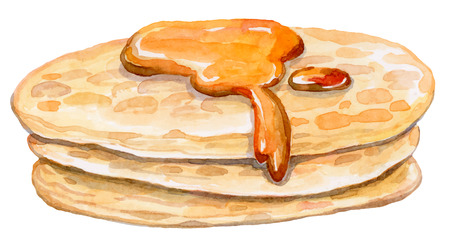 some appetizing pancakes with sweet maple syrup - watercolor vector drawing - healthy food Illusztráció
