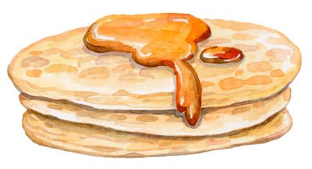 sommige smakelijke pannenkoeken met zoete ahornsiroop - aquarel vector tekening - gezonde voeding Stock Illustratie