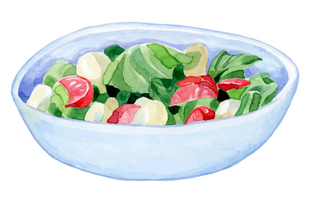 cucumber salad: bright handmade bowl with a colorful salad - cucumber tomato salad leaves - healthy food- watercolor vector drawing