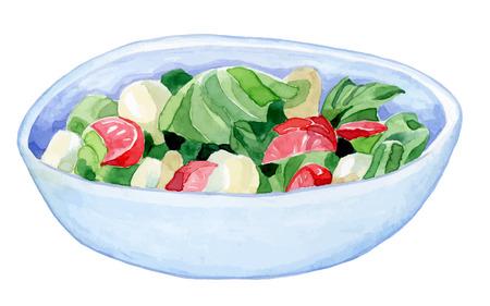 brillante cuenco hecho a mano con una colorida ensalada - tomate pepino ensalada de hojas - Dibujo de acuarela vector de alimentos saludables Vectores