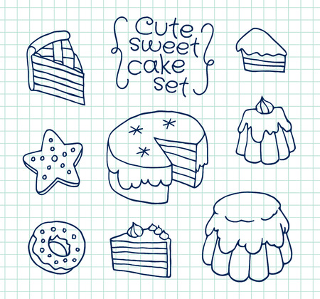 exercise book: Freehand drawing cute cake on sheet of exercise book. Vector illustration set. Illustration