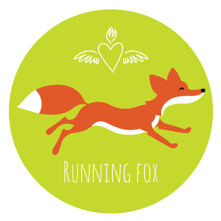 Running red fox - mascote picture or art for logo design Vector