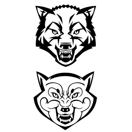 harsh: wolfs heads showing teeth harsh beast hunter forest vector can be used as a tattoo or logo Illustration