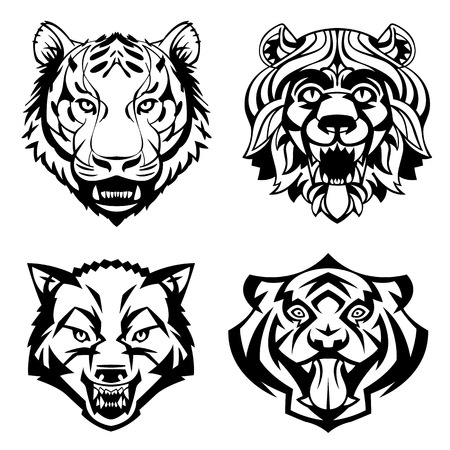 SET heads of wild animals vector graphics can be used as a tatto