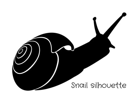 black silhouette snails with shell Vector