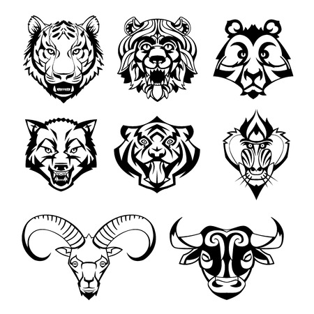 SET heads of wild animals and their victims vector graphics can be used as a tattoo