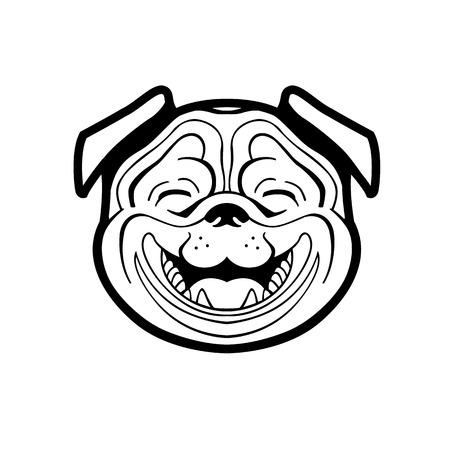 pleasant: perky pug smiling from ear to ear he joyful and pleasant vector can be used to store  signage dog food