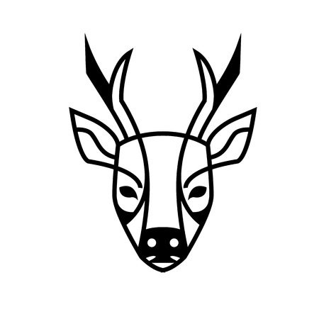 roe deer: Roe deer watching us stylized image can be used as a  or brand images vector black and white Illustration