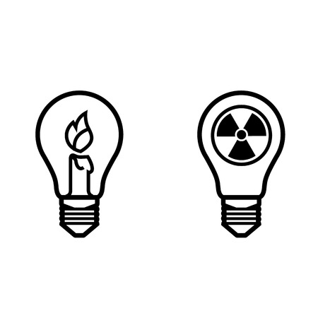 nonrenewable: lightbulb idea of non-renewable energy sources ecological orientation saving the planet caring for the earth vector for  or designs