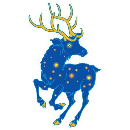 ilustration: Unusual space deer with shining stars. Vector Ilustration