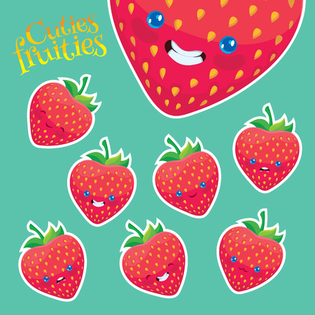 cartoon strawberry with different emotions - vector fruits set