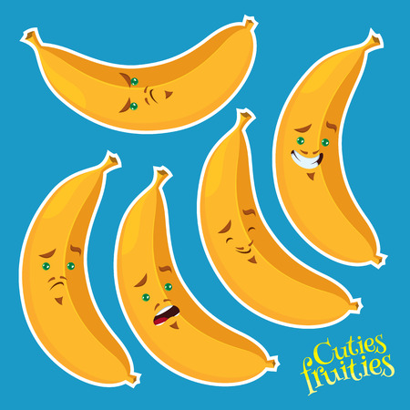 cool banana with different emotions - vector fruits set Vector