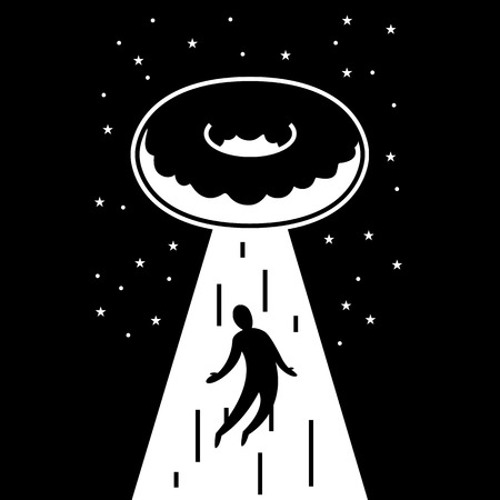 UFO  Flying donut takes man in beam of light on the background of the sky Illustration