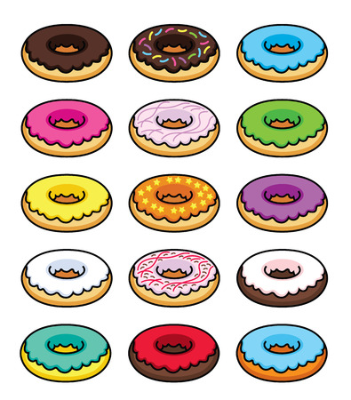 fattening: Colorful picture donuts in different glaze - vector illustration Illustration