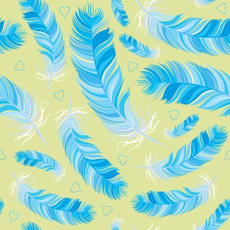 bluebird feather vector seamless pattern Vector
