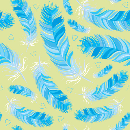 fabled: bluebird feather vector seamless pattern Illustration