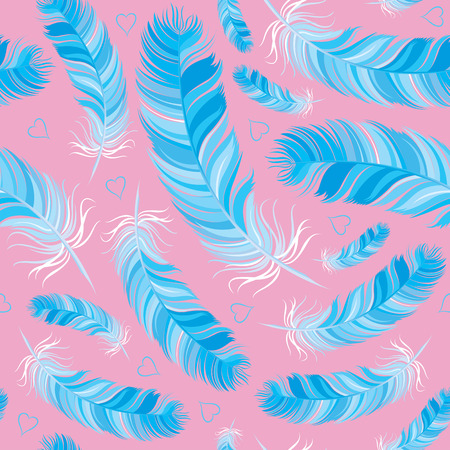 bluebird: bluebird feather vector seamless pattern Illustration
