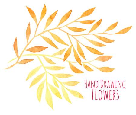 Watercolor hand drawing sprigs with sun leaves - vector illustration Illustration