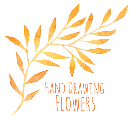 Watercolor hand drawing sprigs with sun leaves - vector illustration Stock Vector - 36563988