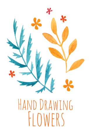the sprouting: Watercolor hand drawing sprigs with orange and blue leaves - vector illustration
