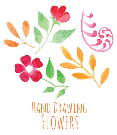 vector floral collection set - hand painted watercolor red flowers with green orange leaves Illustration