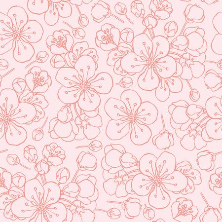 hand drawing flowering cherry, plum or sakura - seamless vector pattern Illusztráció