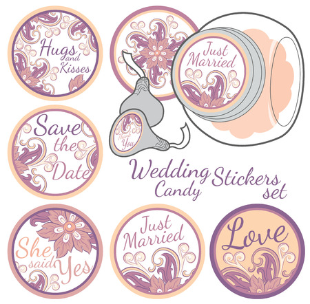 favors: Personalized Candy Sticker Labels with decorative floers set - perfect addition to wedding or party favors