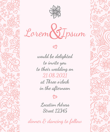 Invitation wedding card vector template - for invitations, flyers, postcards, cards and so on