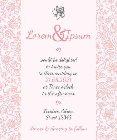 Uitnodiging trouwkaart vector template - voor uitnodigingen, flyers, ansichtkaarten, kaarten en ga zo maar door Stock Illustratie