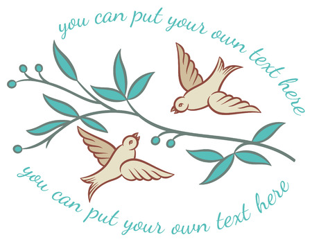 small flock: Two fluttering birds and tree branches - retro style vector illustration Illustration