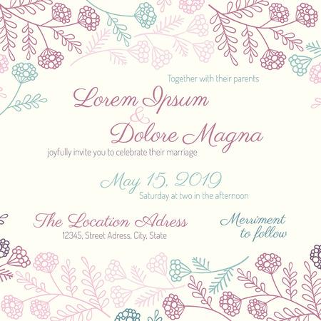 Plantilla de invitación de la invitación de boda de vectores - para las invitaciones, volantes, postales, tarjetas, etc. Foto de archivo - 43440423