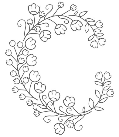 cute flowers - hand drawing the naive style frame or border Illustration