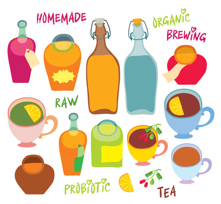 Bottle cups and pots - hand drawing vector illustration natural homemade beverages - healthy drink for health Illustration