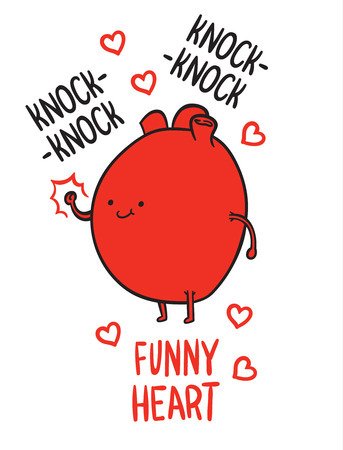 knocking: cartoon heart knocking on the door - heart beats joke Illustration