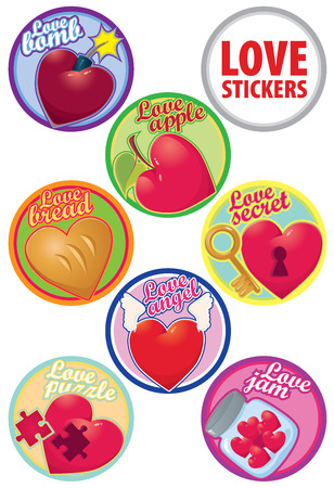 party favors: vector love stikers colorful set different hearts for design cards, wedding or party favors