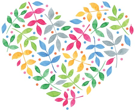 heart shaped leaves: beautiful watercolor leaves in the shape of heart vector for romantic design Illustration