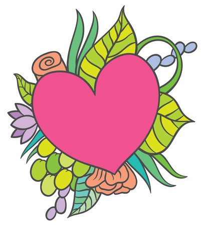 leaves frame: vector hand drawing small heart-shaped frame surrounded by flowers, leaves and berries