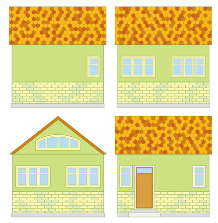 cozy: Small cozy green suburban cottage - vector different sides