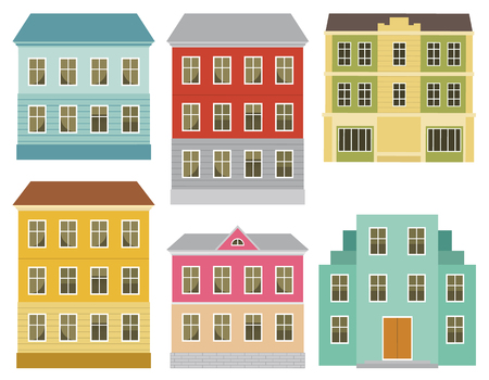 Set of the European city abstract buildings. Series of the cartoon buildings