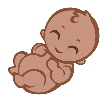 Cartoon happy afro child - vector illustartion for baby shower