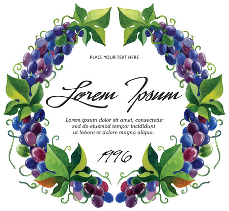 Vector label template for wine grape branches with watercolor