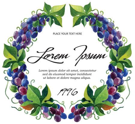 Vector label sjabloon voor wijn druif takken met aquarel Stock Illustratie