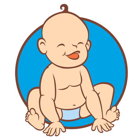 newborn little baby smiling - stylized form for cards, invite, logos