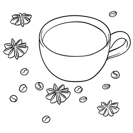 anise: cup of hot drink with coffee and anise seeds on white background