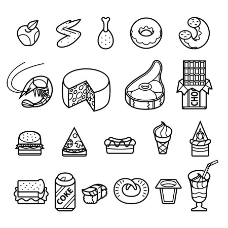 baked goods: different tasty and healthy food - vector icon set