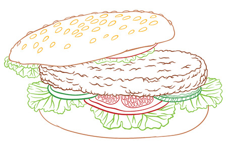 sesame seeds: vector hand drawing  big delicious burger with cucumber, lettuce, tomatoes and chop on a bun with sesame seeds
