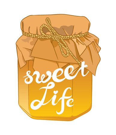 curative: Small glass jar with golden honey on white closeup and exclusive hand written vector lettering SWEET LIFE Illustration