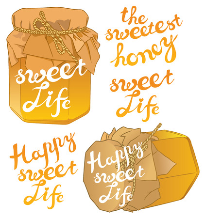 curative: Small glass jar with golden honey on white closeup and exclusive hand written vector lettering THE SWEETEST HONEY, SWEET LIFE, HAPPY SWEET LIFE