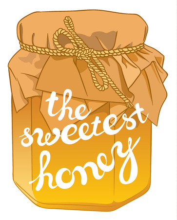curative: Small glass jar with golden honey on white closeup and exclusive hand written vector lettering THE SWEETEST HONEY Illustration